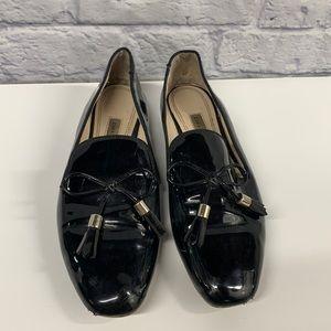 Zara Basic black shiny tassel bow Loafers 38/8